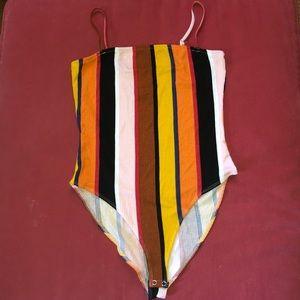 Striped body suite, with spaghetti straps